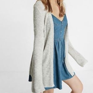 Express Marled Gray Waffle Knit Bell Sleeve Cardi
